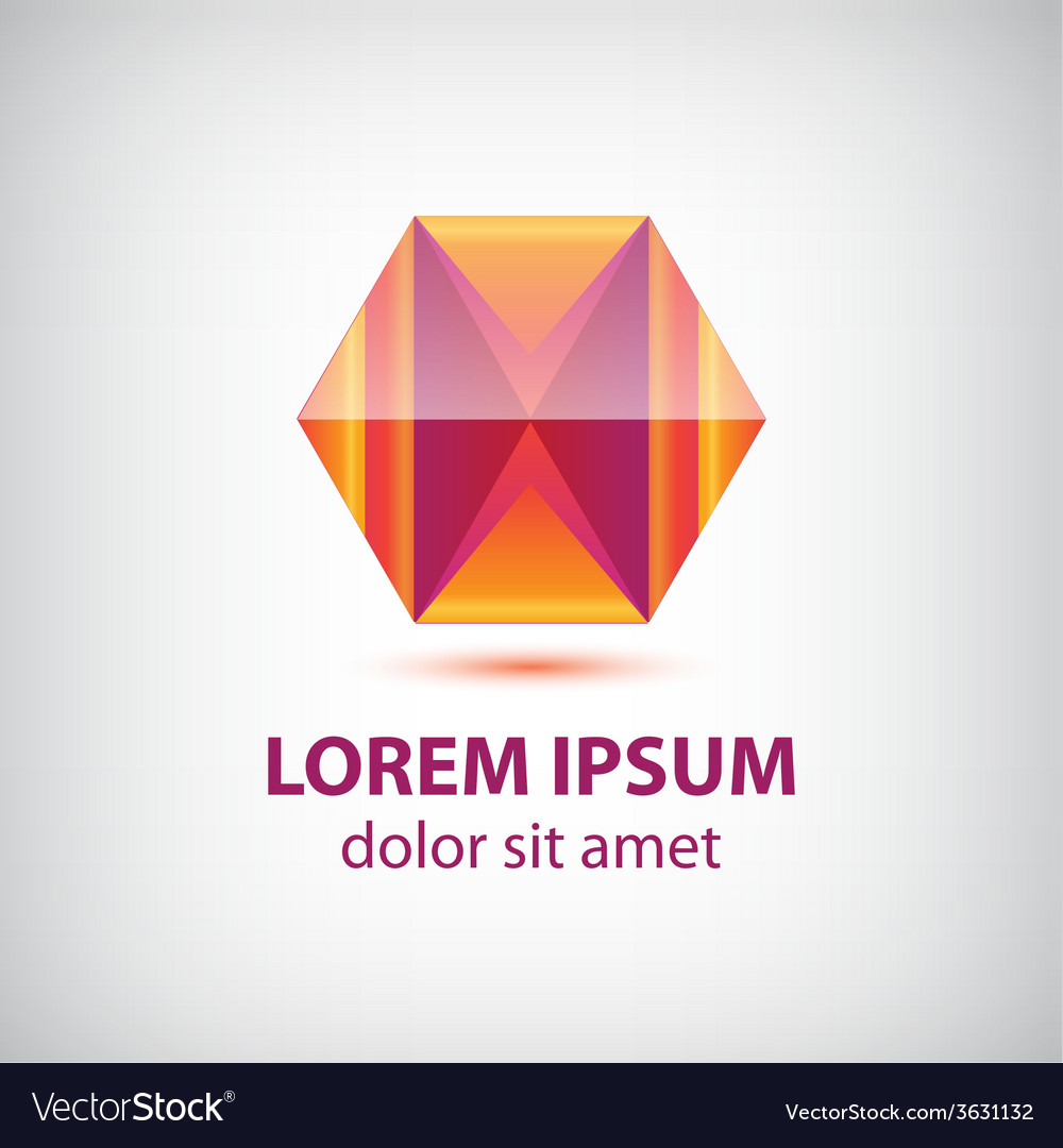 Abstract red crystal polygon geometric logo vector | Price: 1 Credit (USD $1)