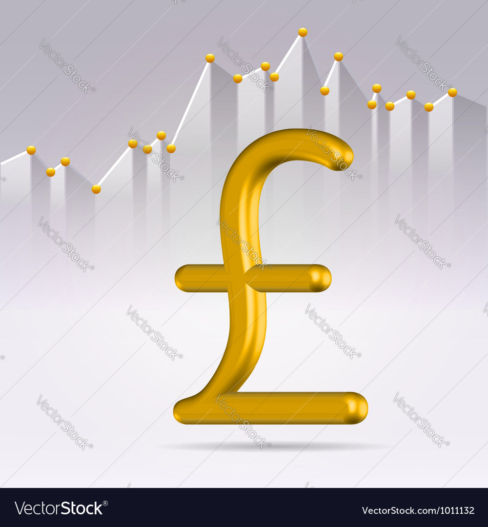 Golden pound sign over chart vector | Price:  Credit (USD $)
