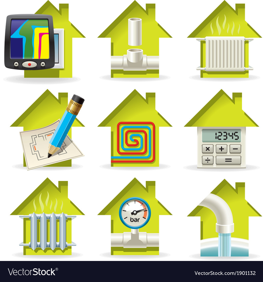 Heating home icons vector | Price: 1 Credit (USD $1)
