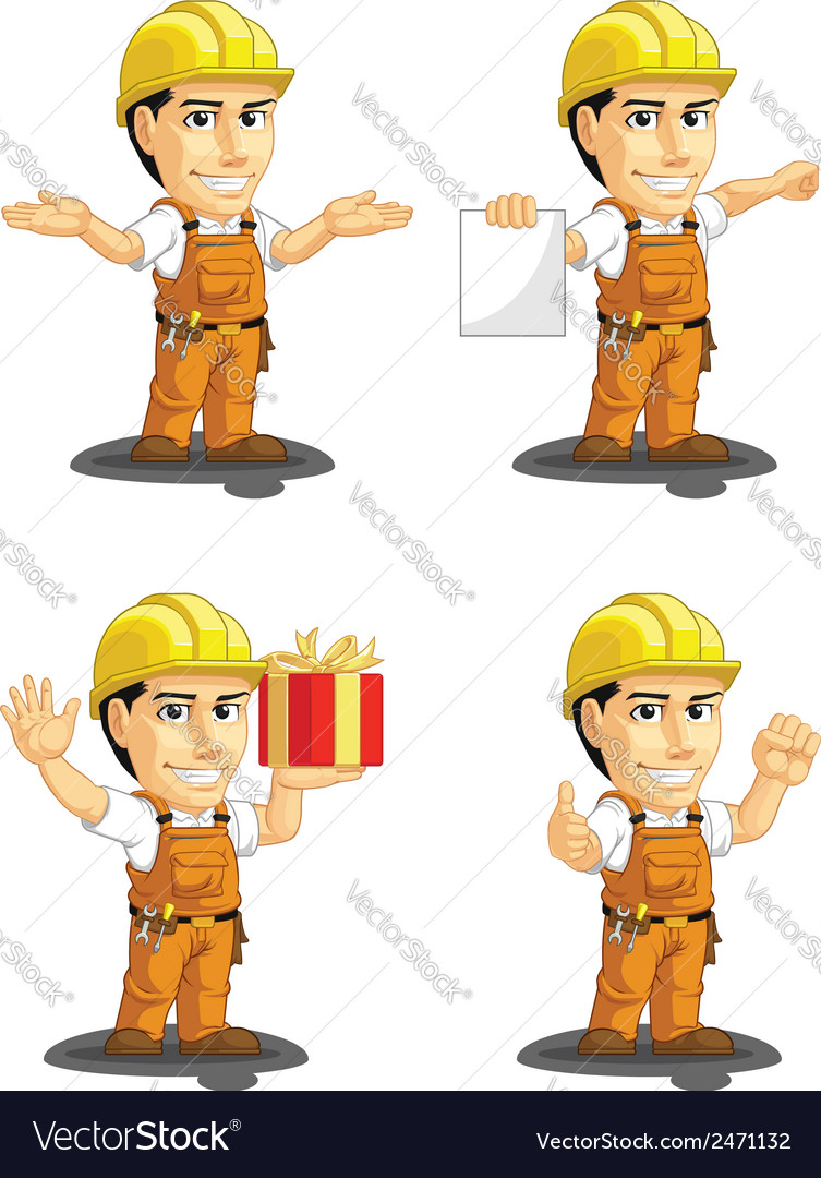 Industrial construction worker mascot 11 vector | Price: 1 Credit (USD $1)