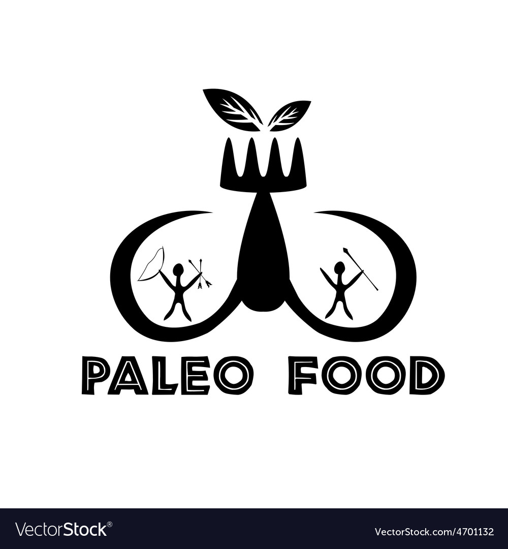 Paleo food with mammoth tusks and cavemans vector | Price: 1 Credit (USD $1)