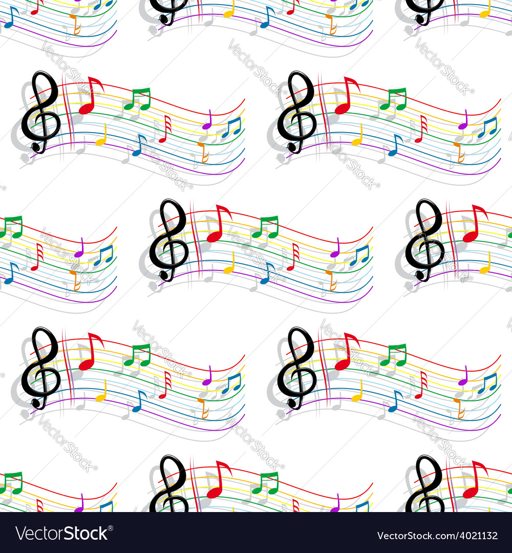 Seamless colorful music notes pattern vector | Price: 1 Credit (USD $1)