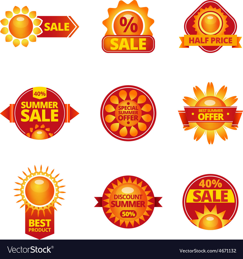Summer sale labels set vector | Price: 1 Credit (USD $1)