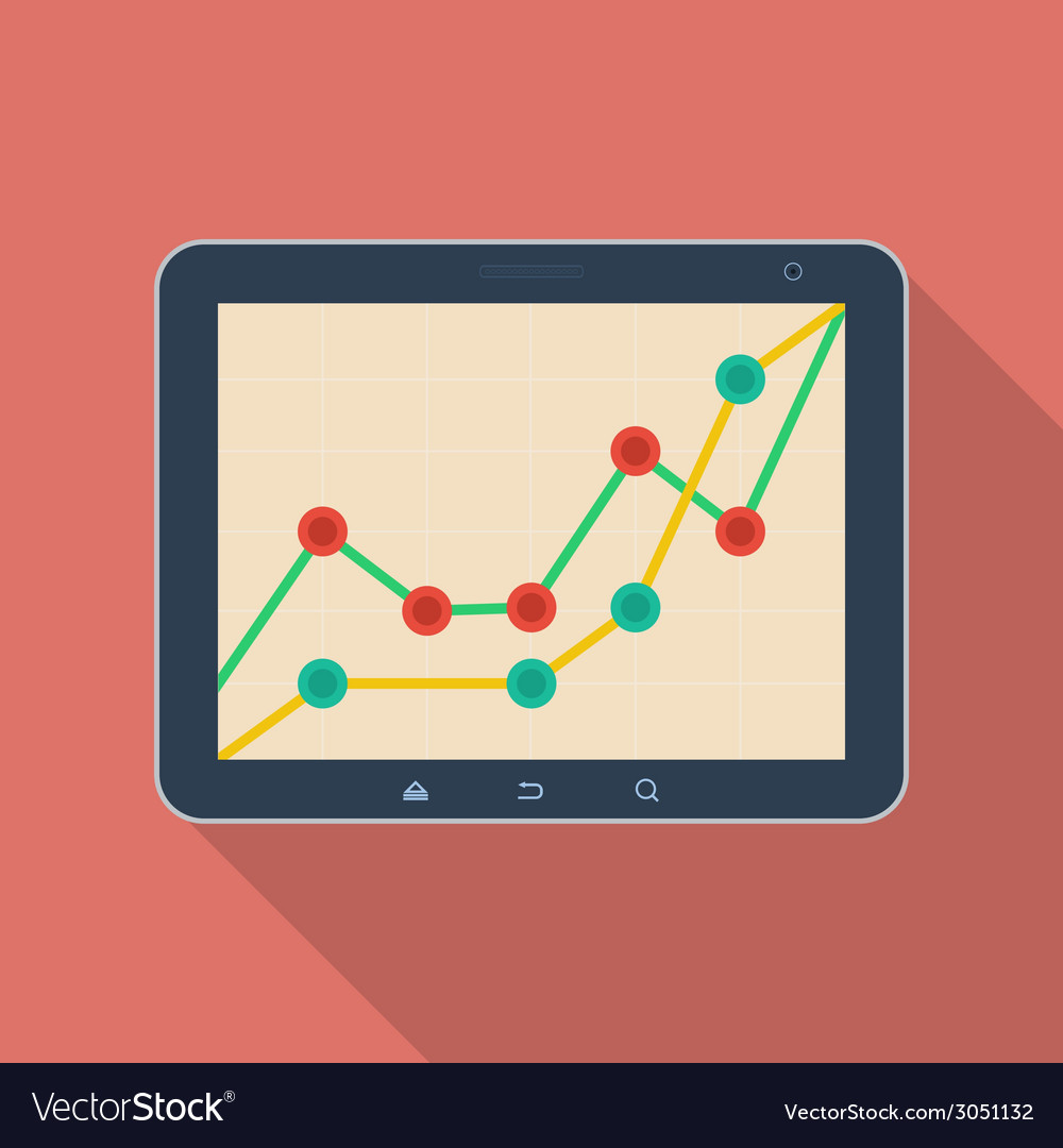 Tablet pc with a diagram icon modern flat style vector | Price: 1 Credit (USD $1)