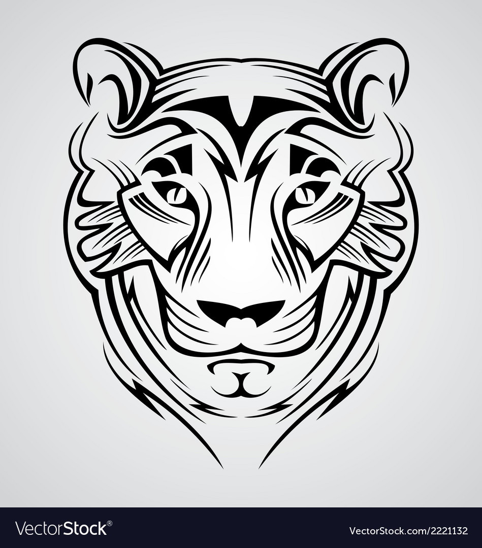 Tiger head tribal vector | Price: 1 Credit (USD $1)