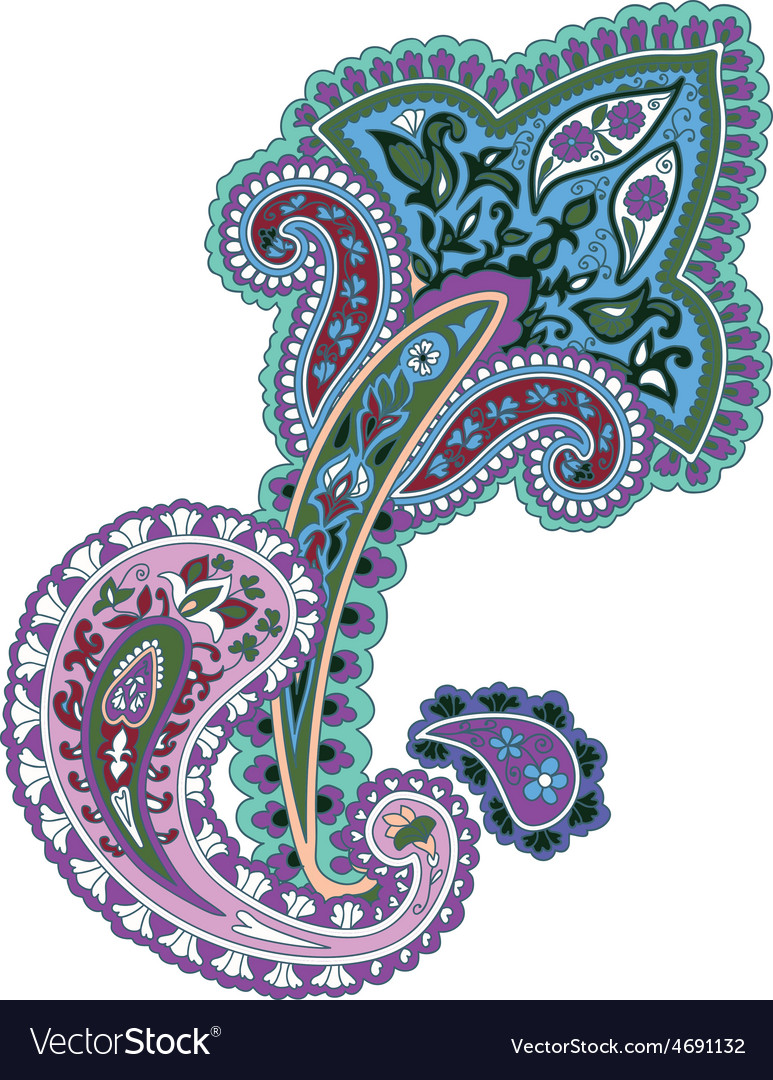 Traditional ornamental background paisley design vector | Price: 1 Credit (USD $1)