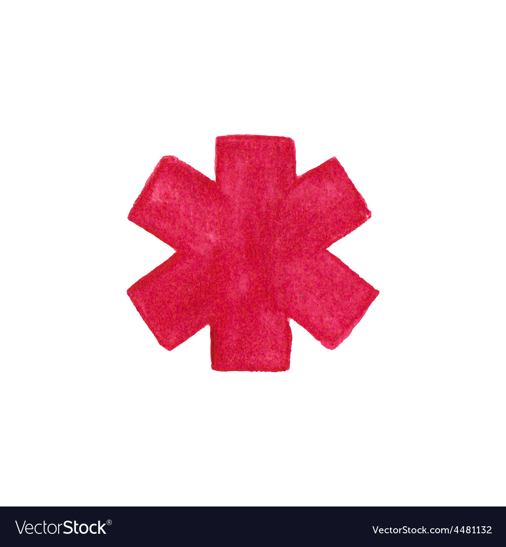 Watercolor medical emergency symbol on the white vector | Price: 1 Credit (USD $1)