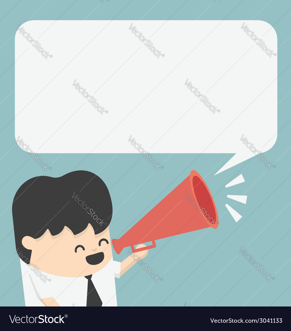 Businessman with a megaphone and bubble vector
