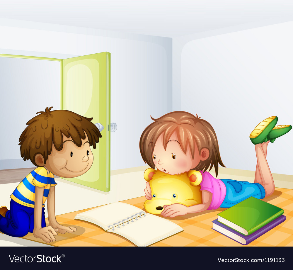 Children studying in a room vector | Price: 1 Credit (USD $1)