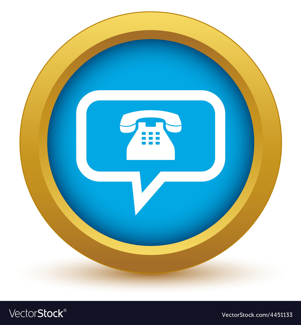 Gold telephone conversation icon vector | Price: 1 Credit (USD $1)