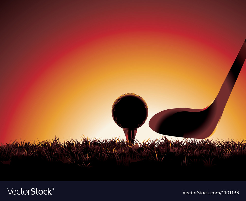Golf ball on tee at sunset with copy space vector | Price: 1 Credit (USD $1)