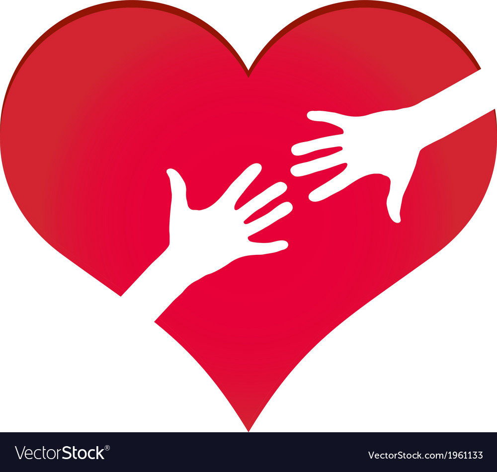 Hands reaching each other in heart symbol vector | Price: 1 Credit (USD $1)