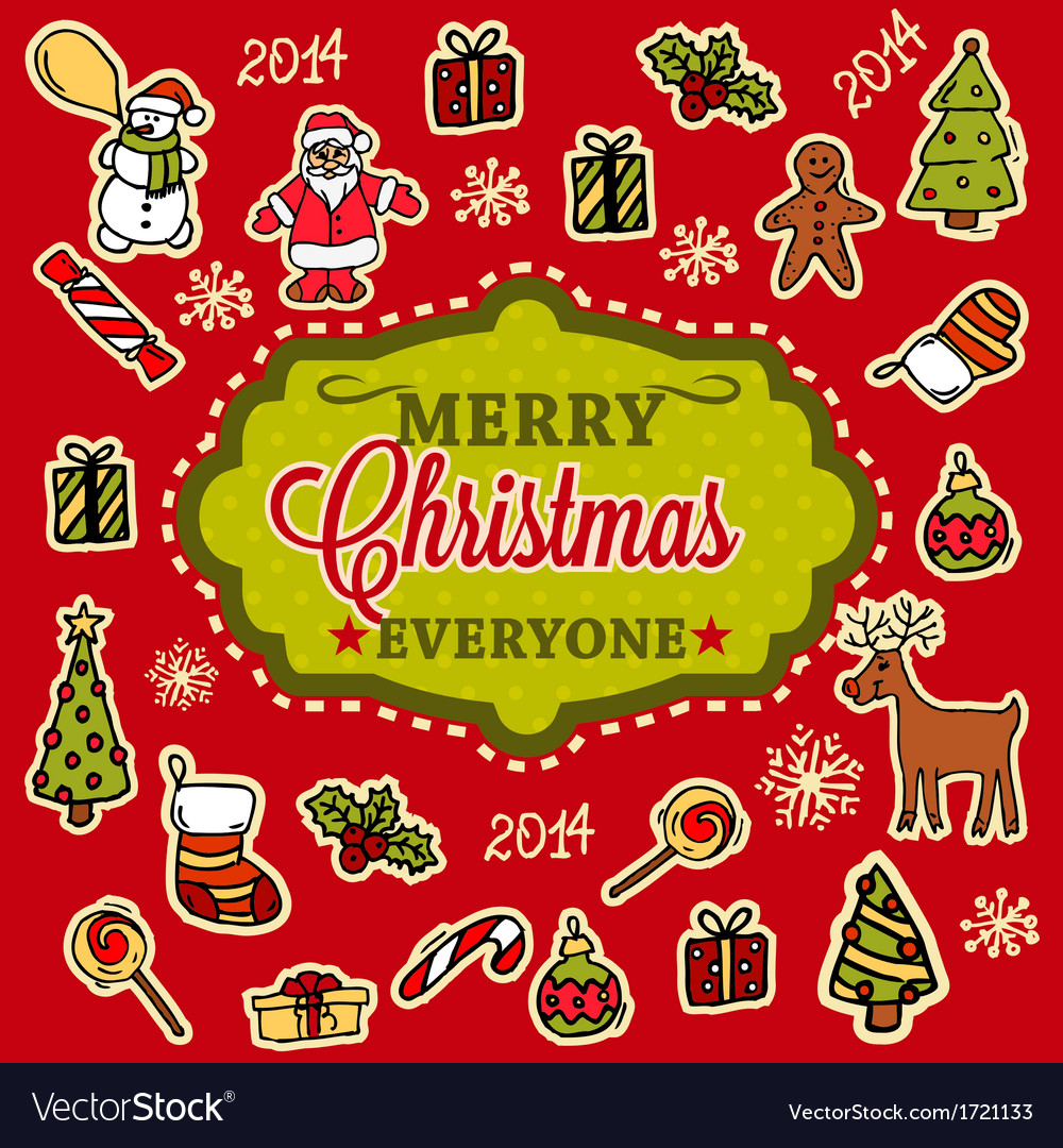 Merry christmas hand drawn card vector | Price: 1 Credit (USD $1)