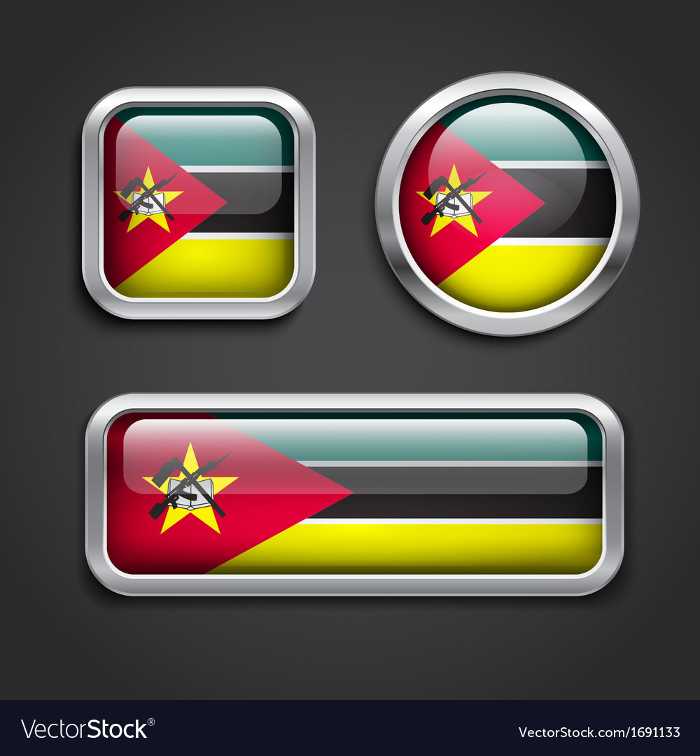 Mozambique flag glass buttons vector | Price: 1 Credit (USD $1)