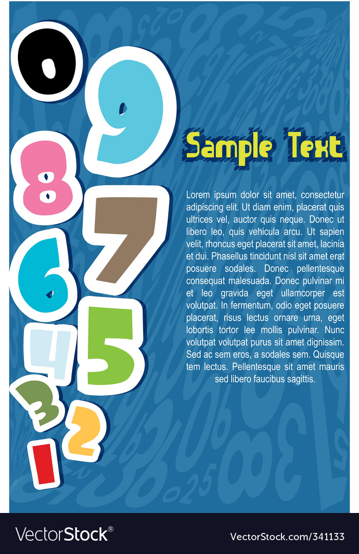Numbers with sample text vector | Price: 1 Credit (USD $1)