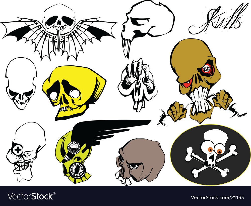 Set of skulls vector | Price: 3 Credit (USD $3)