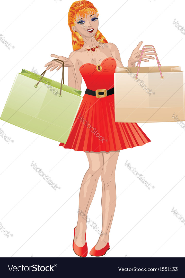 Shopping girl with red hair2 vector | Price: 1 Credit (USD $1)