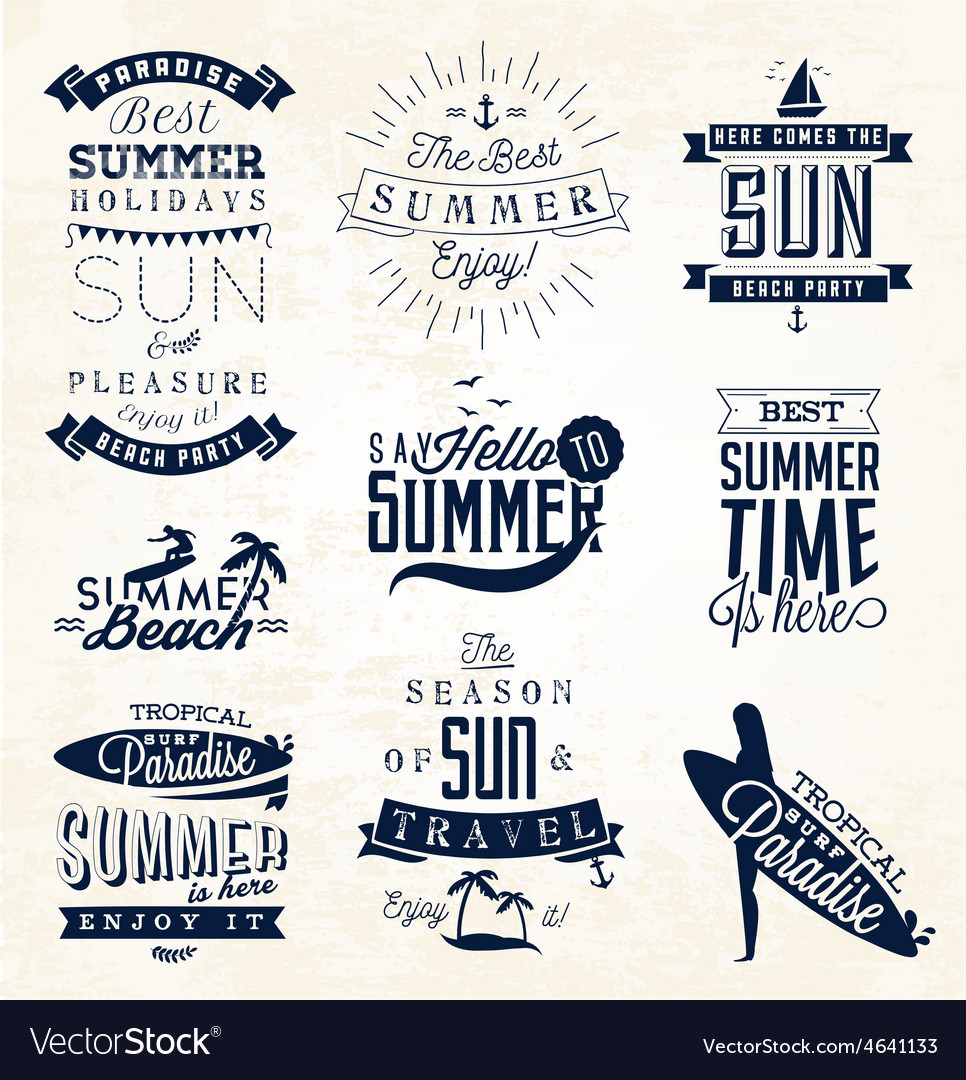 Summer beach calligraphy design elements vector | Price: 1 Credit (USD $1)