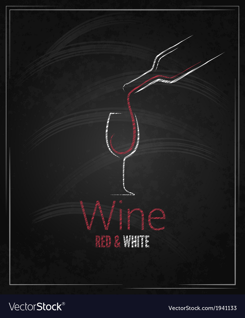 Wine glass chalkboard menu background vector | Price: 1 Credit (USD $1)