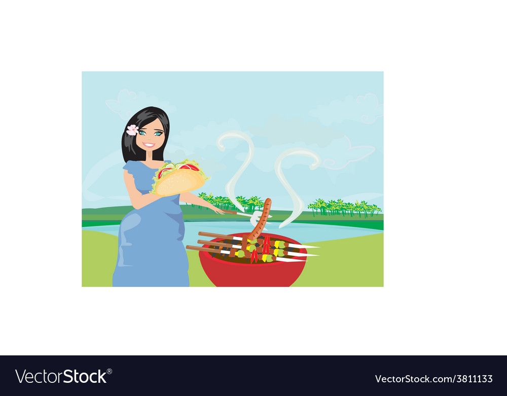Woman cooking on a grill vector | Price: 1 Credit (USD $1)