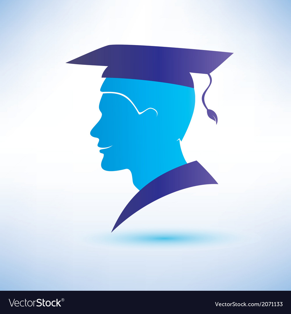 Young man silhouette with graduation cap vector | Price: 1 Credit (USD $1)