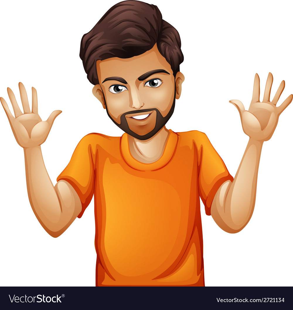 A man wearing an orange tshirt vector | Price: 1 Credit (USD $1)