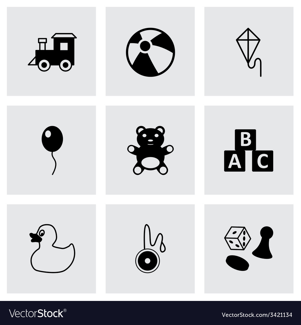 Black toys icon set vector | Price: 1 Credit (USD $1)