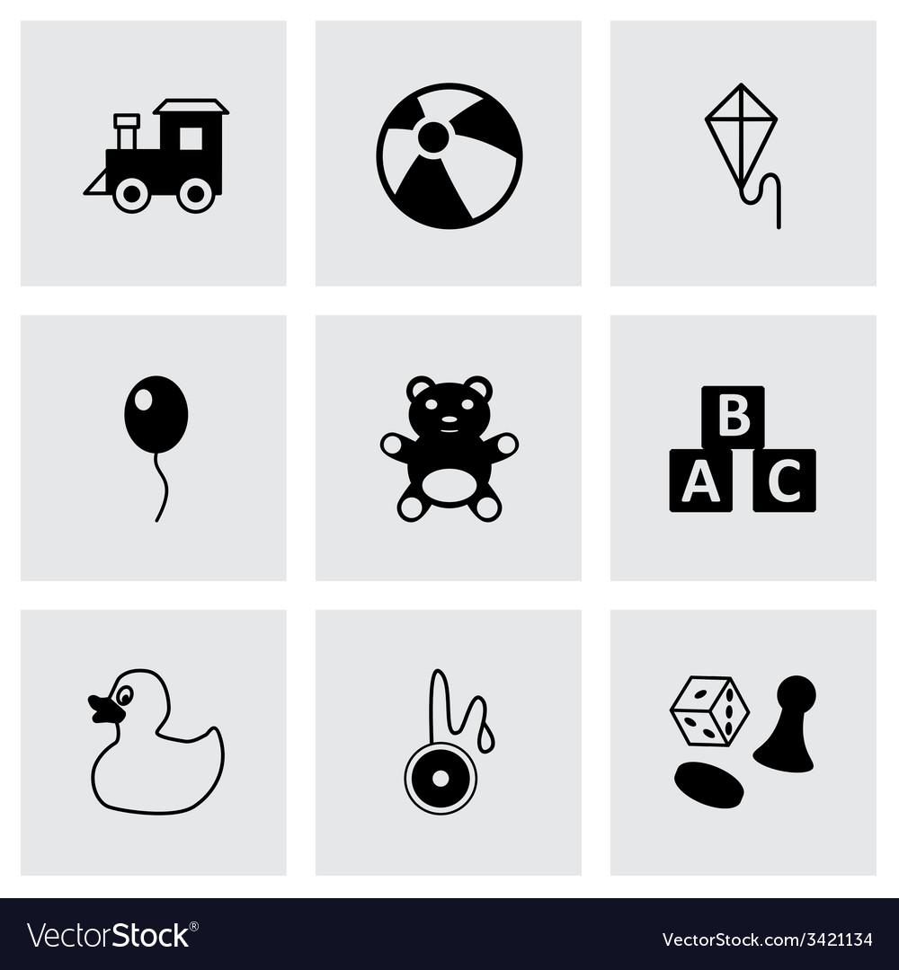 Black toys icon set vector | Price: 1 Credit (USD $1)