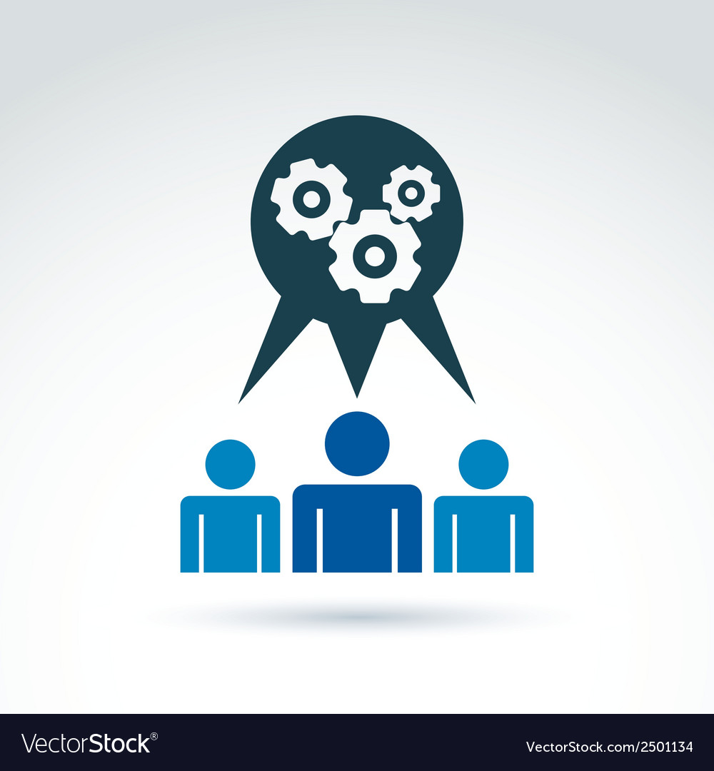 Gears and cogs working team system theme icon vector | Price: 1 Credit (USD $1)