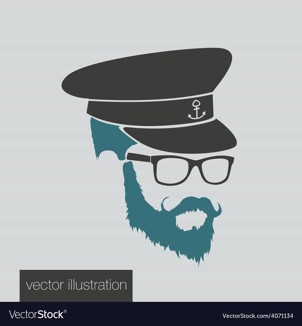 Icons captain hairstyles beard and mustache vector | Price: 1 Credit (USD $1)