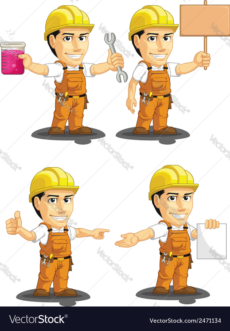 Industrial construction worker mascot 12 vector | Price: 1 Credit (USD $1)
