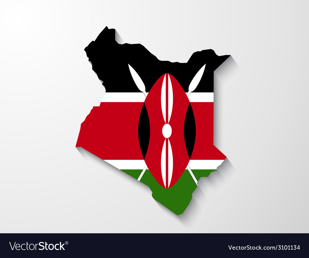 Kenya country map with shadow effect presentation vector | Price: 1 Credit (USD $1)