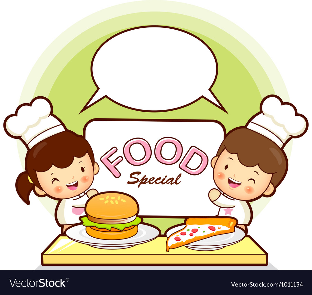 Kids chef fast food promotion vector | Price: 3 Credit (USD $3)
