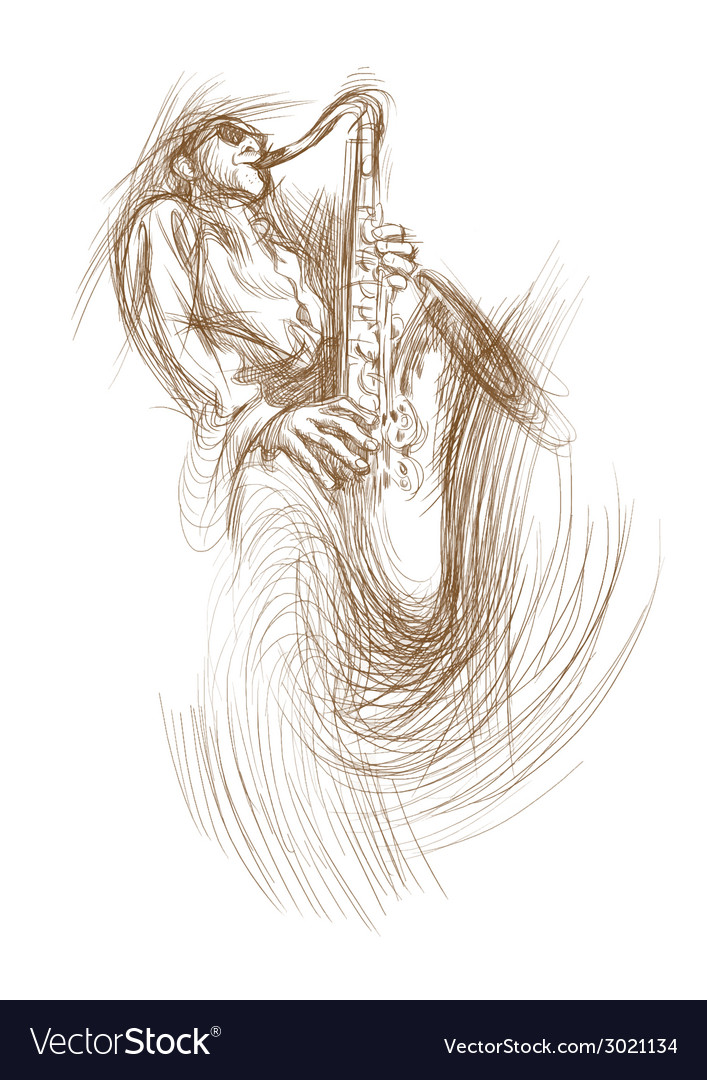 Musician sax player vector | Price: 1 Credit (USD $1)