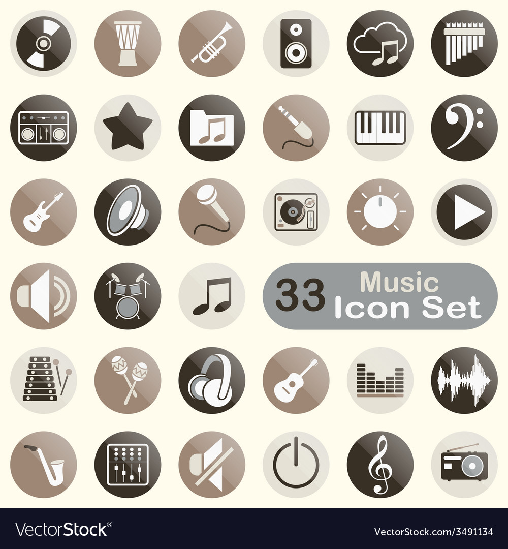 Set of round music icons vector | Price: 1 Credit (USD $1)