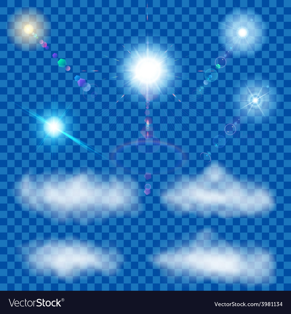 Set of transparent suns and clouds vector | Price: 1 Credit (USD $1)