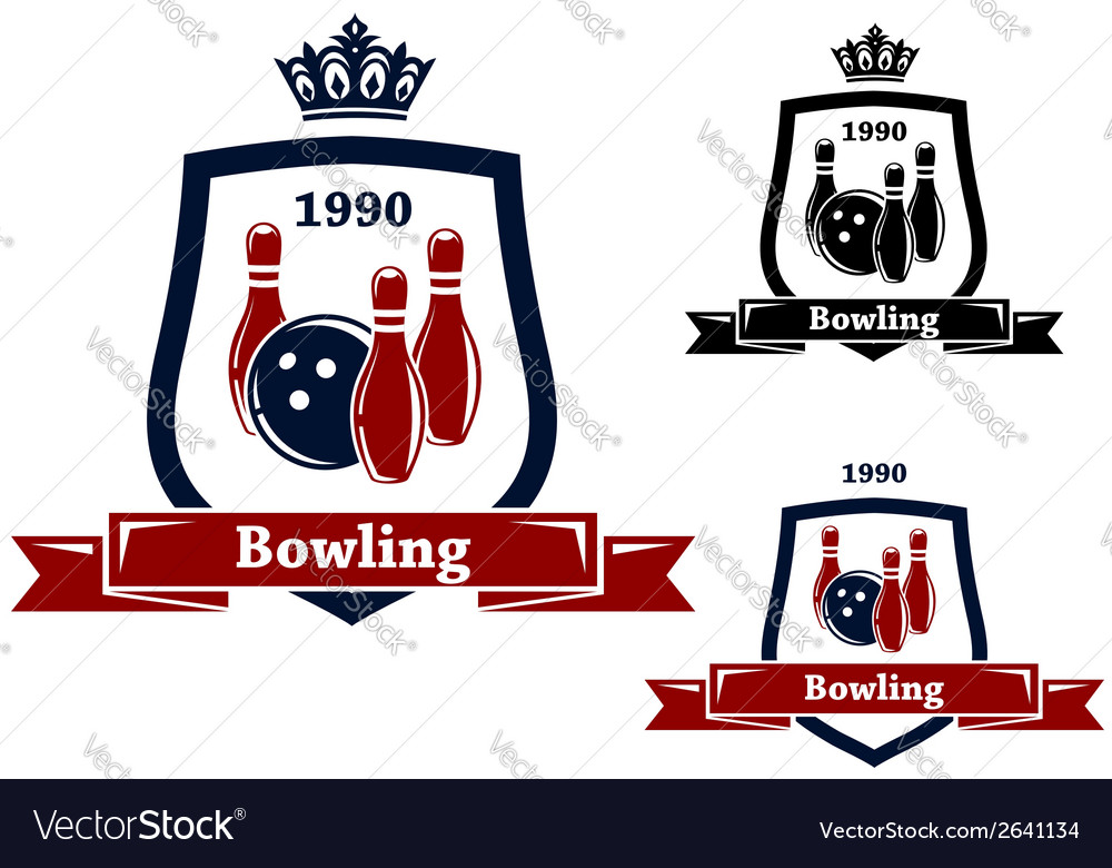 Three bowling badges or emblems vector | Price: 1 Credit (USD $1)