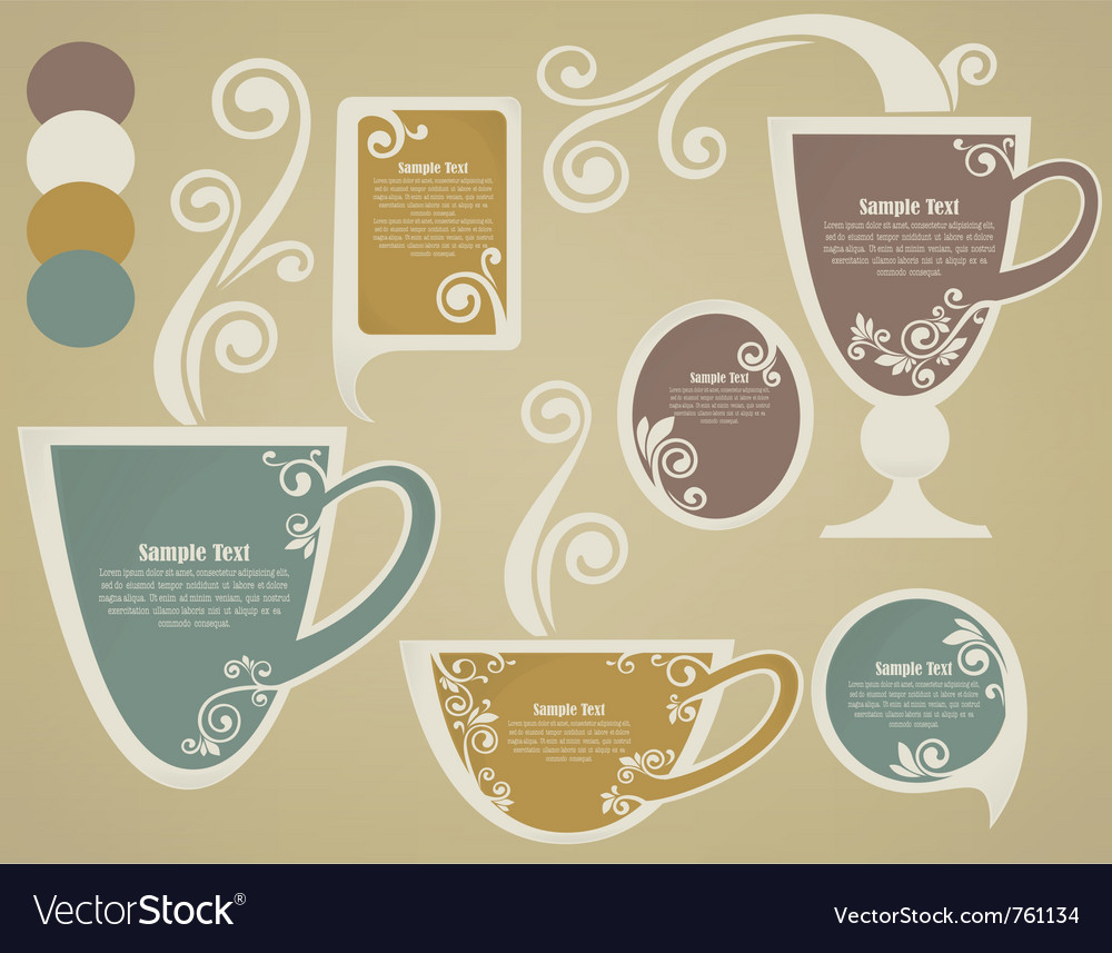 Vintage cups and tags vector | Price: 1 Credit (USD $1)