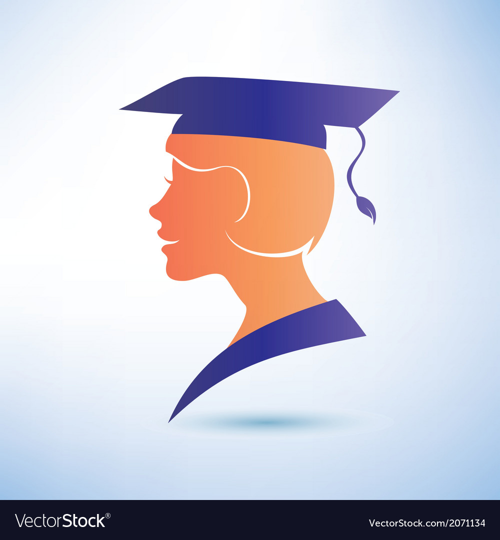 Young woman silhouette with graduation cap vector | Price: 1 Credit (USD $1)