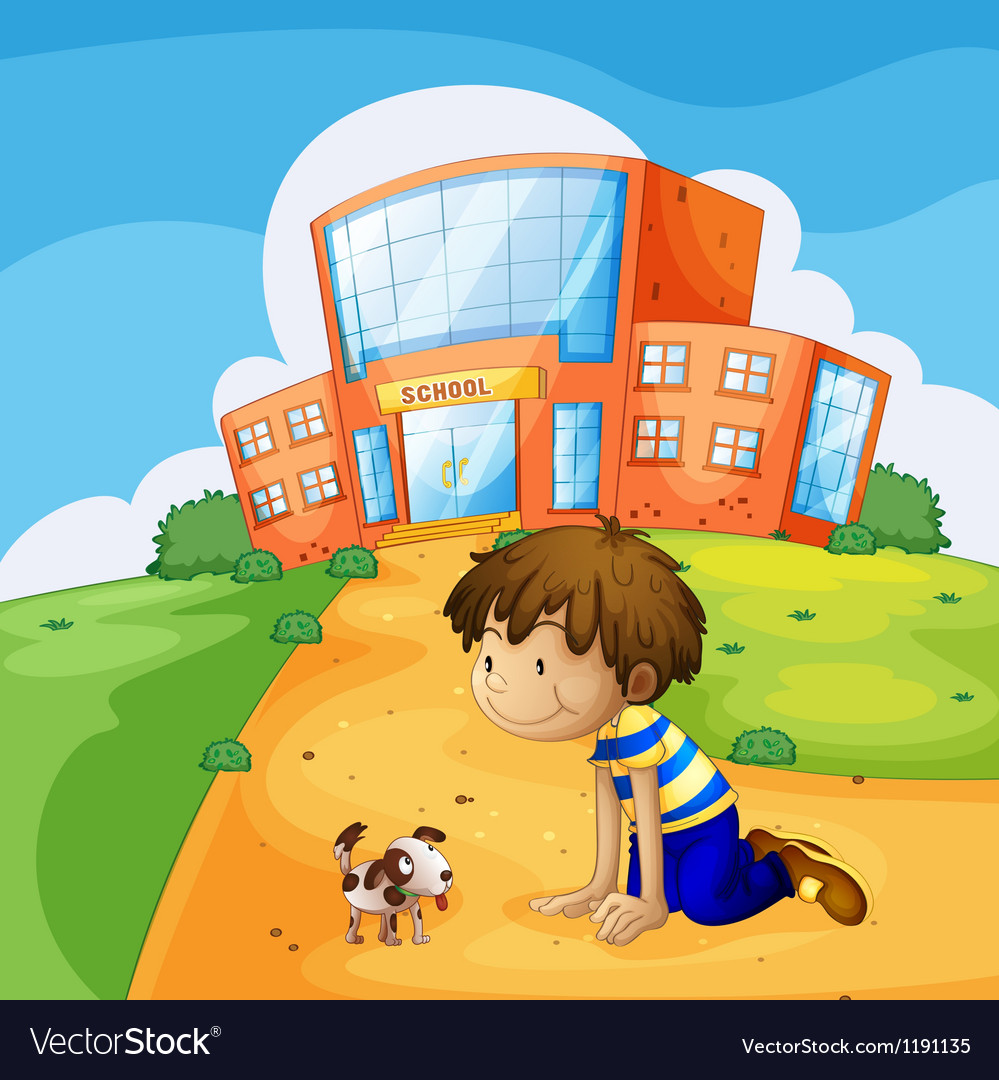 A little boy and his pet near the school vector | Price: 1 Credit (USD $1)