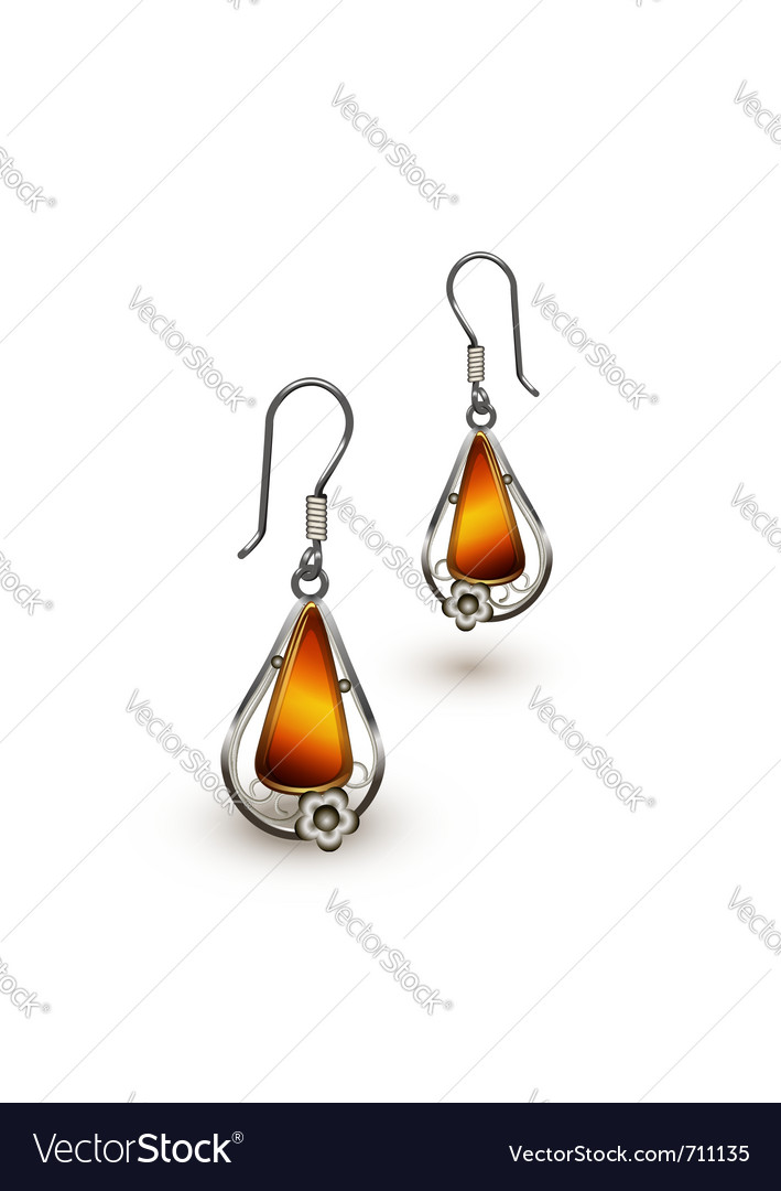 Amber earrings vector | Price: 1 Credit (USD $1)