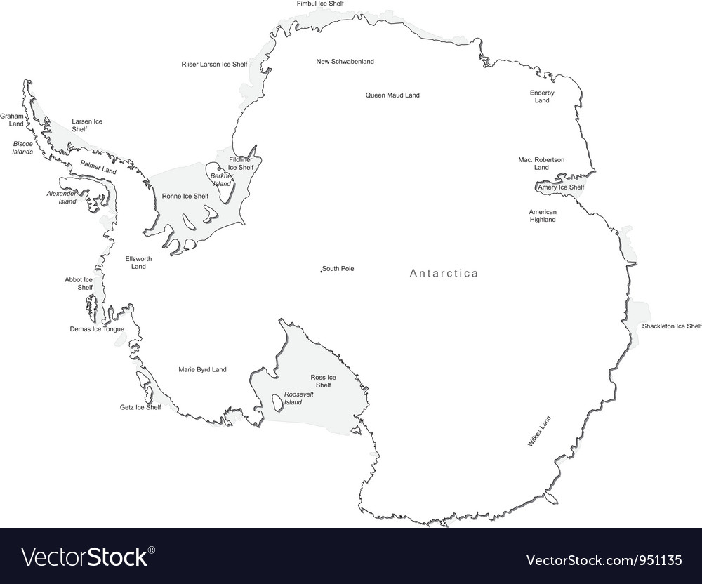 Antarctica black white map with major cities vector | Price: 1 Credit (USD $1)