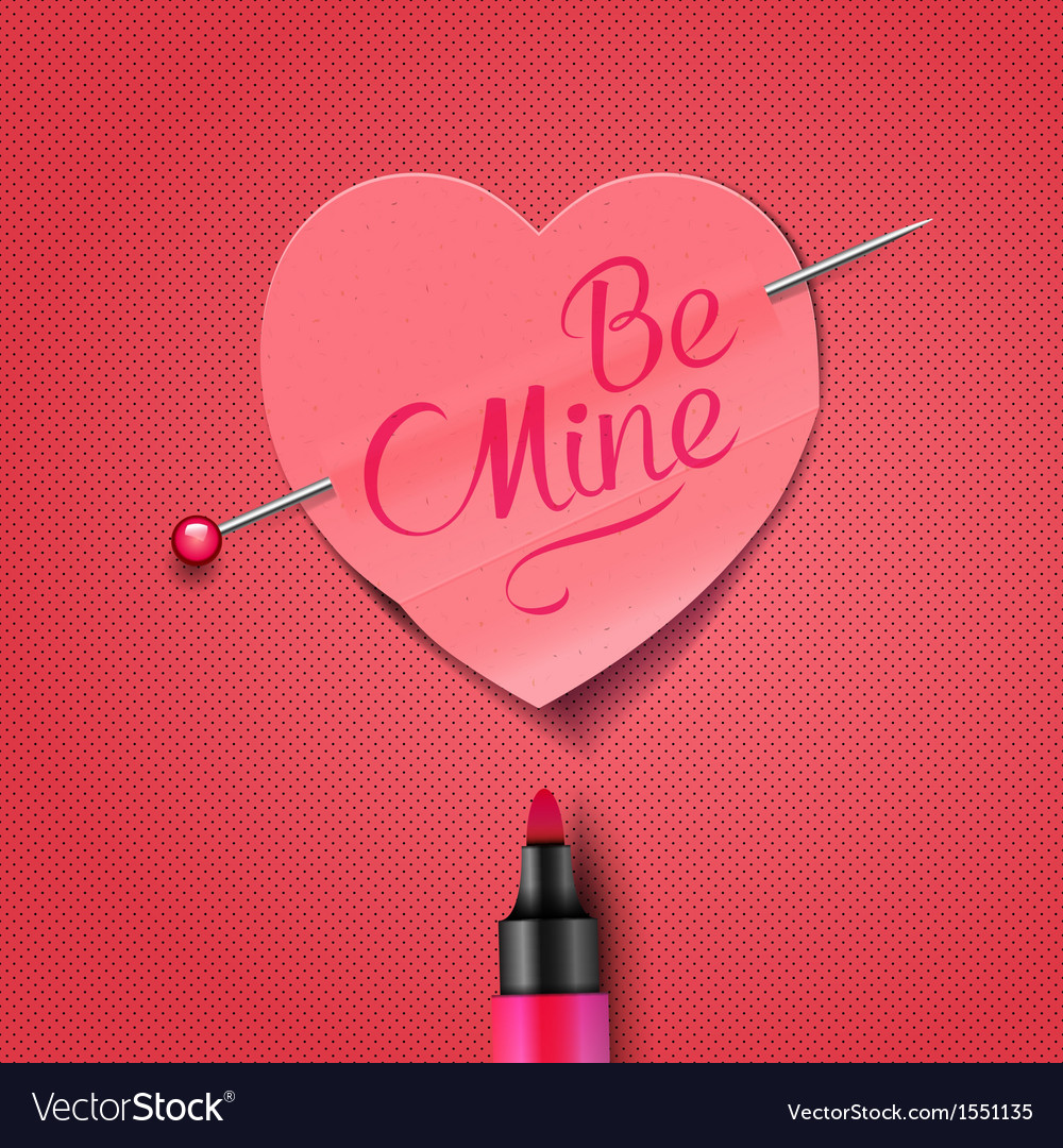 Be mine - written by marker on red paper heart vector | Price: 1 Credit (USD $1)