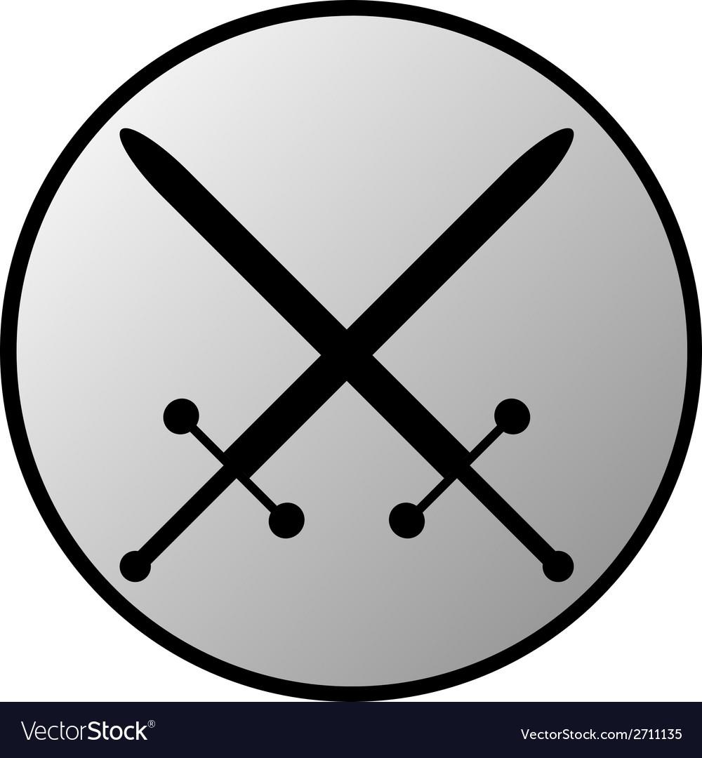 Crossed swords button vector | Price: 1 Credit (USD $1)