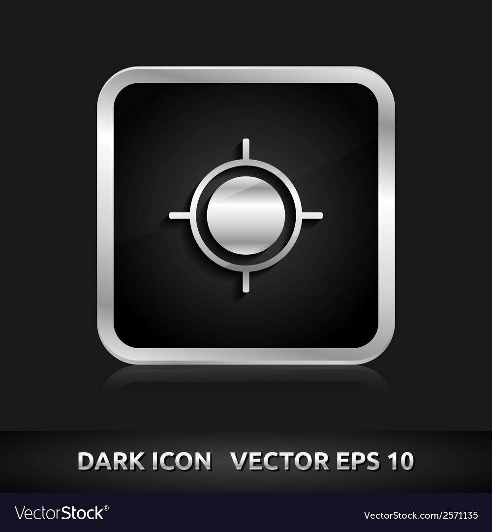 Gps navigation icon silver metal vector | Price: 1 Credit (USD $1)