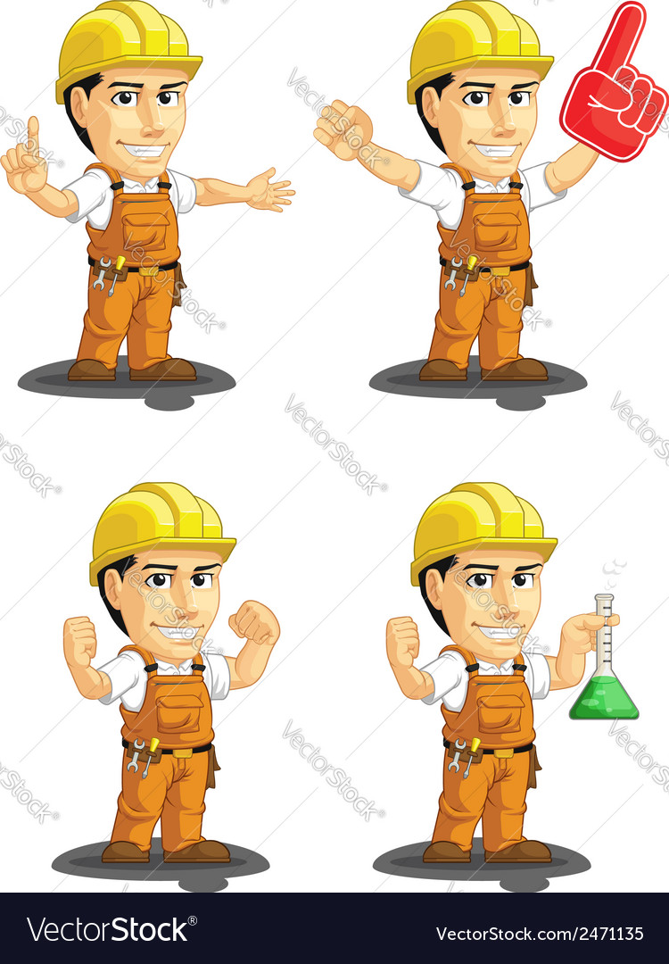 Industrial construction worker mascot 13 vector | Price: 1 Credit (USD $1)
