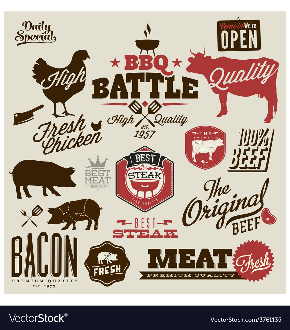 Meat works design elements vector | Price: 1 Credit (USD $1)