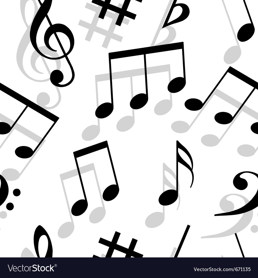 Music notes seamless wallpaper vector | Price: 1 Credit (USD $1)