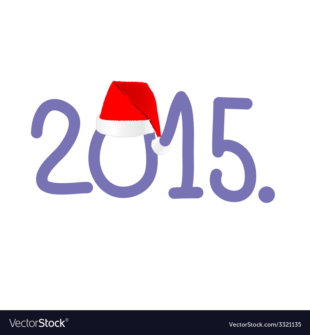New year 2015 with red hat color vector | Price: 1 Credit (USD $1)