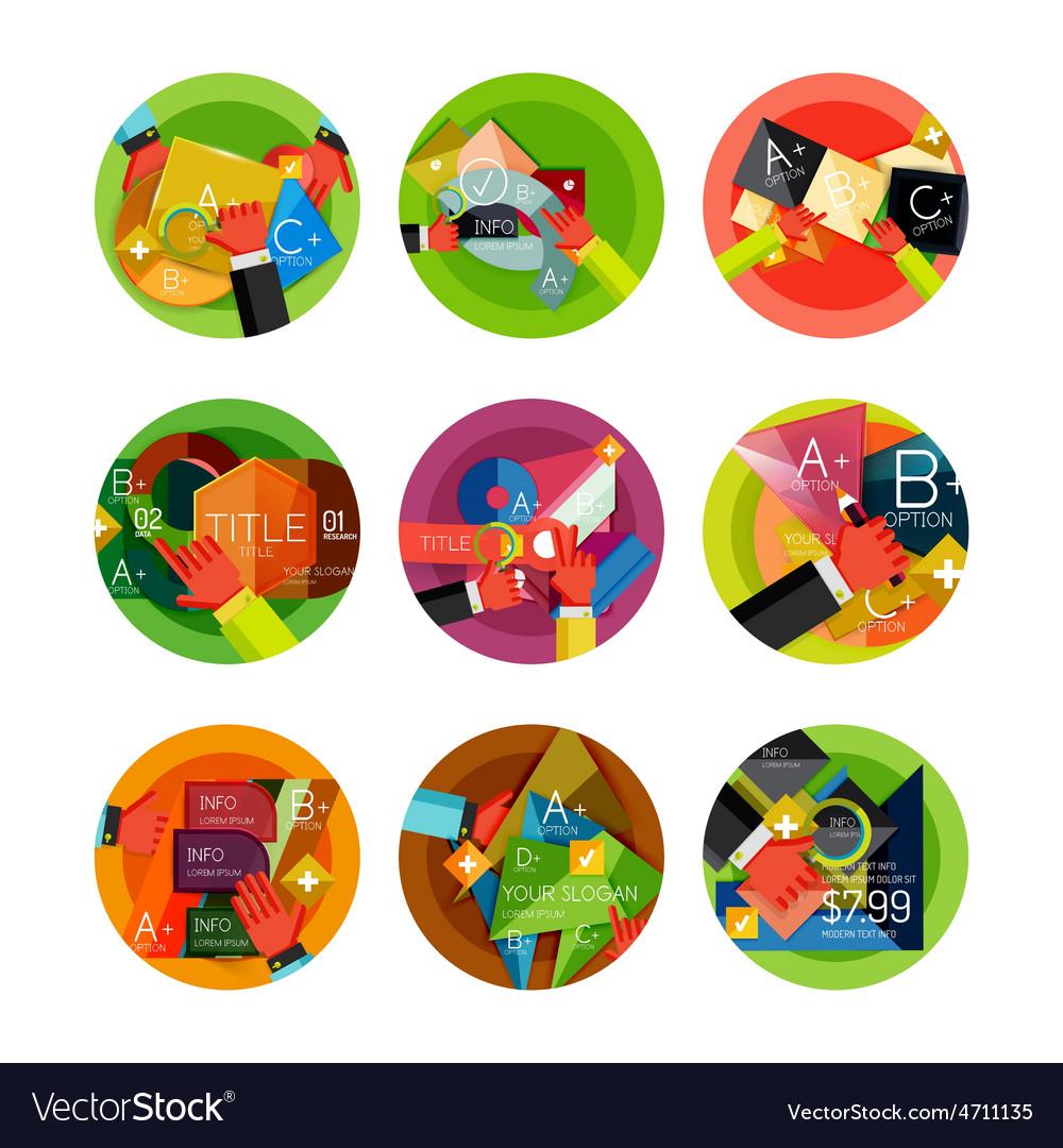 Set of option presentation labels flat design web vector   Price: 3 Credit (USD $3)